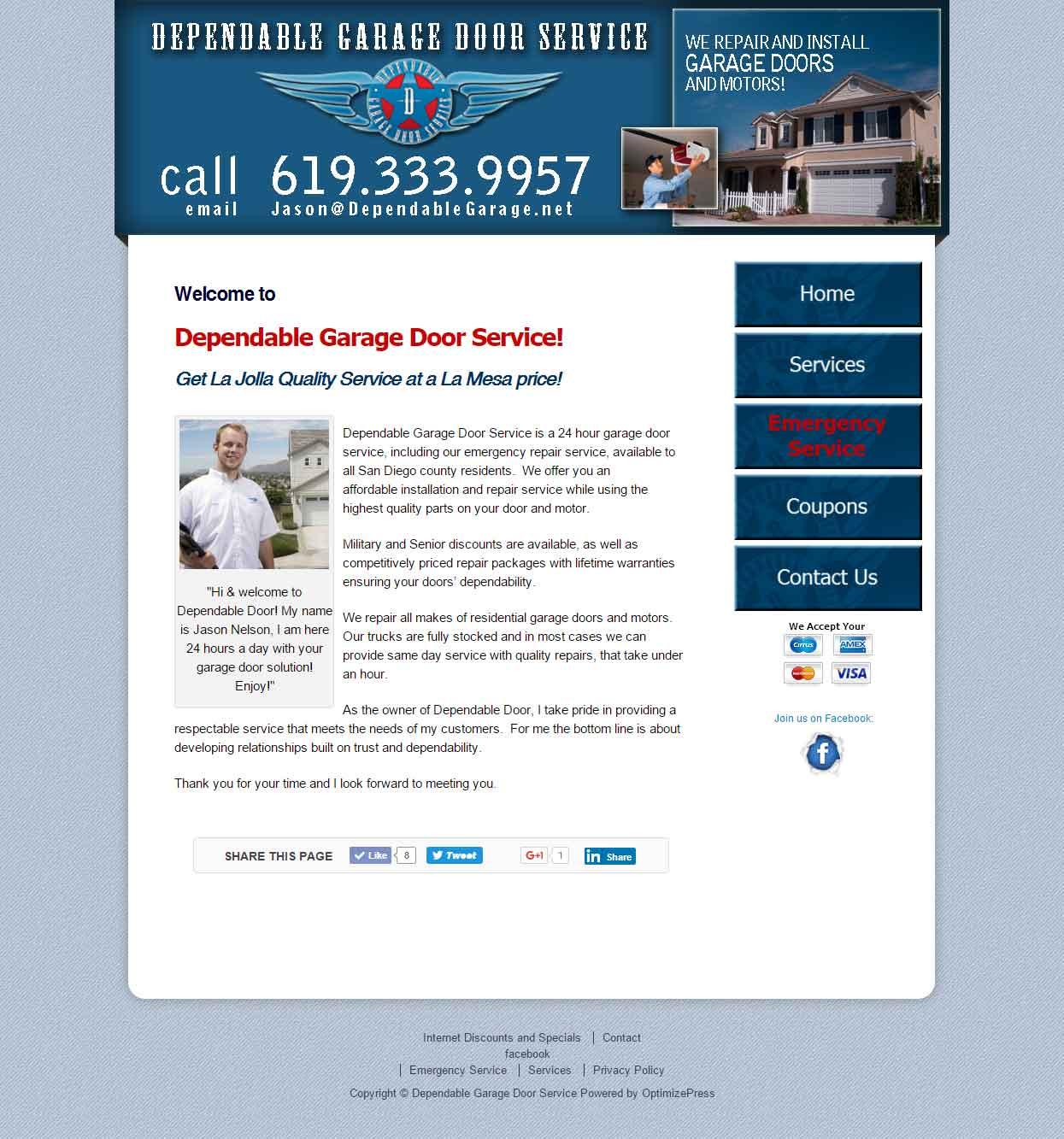 Dependable Garage Dooru0027s Website Preview.